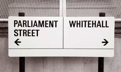 Parliament Street and Whitehall signs.